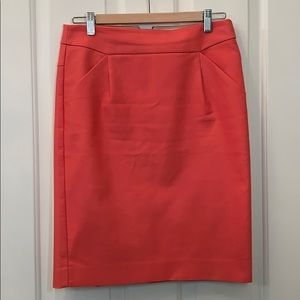 J. Crew Stretch cotton pencil skirt coral